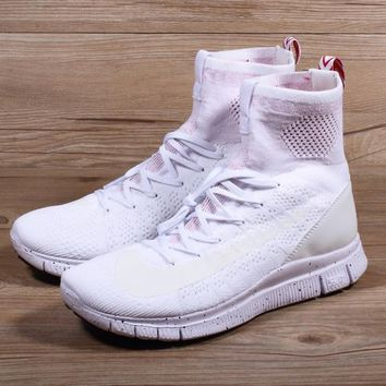 Nike Free Flyknit Mercurial Superfly White/Pure Platinum-University Red Running Shoes - Best Deal Online