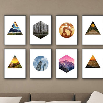 Set of 8 Geometric Art photo, Geometric shape in the photos, Modern Wall Art, Art Printables, Abstract Decor, Modern Print, Simple Art *15*
