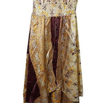 Womens Maxi Skirt Recycled Vintage Sari Two layer Bohemian Hippie Beach Holiday Dress (Yellow, Beige)