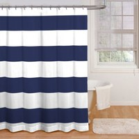 Chase Cabana Stripe 72-Inch x 72-Inch Shower Curtain in Navy/White