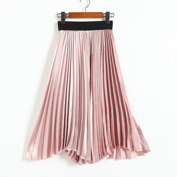 New Vintage Women High Waisted Metallic Luster Skater Pleated Skirt Spring Summer Autumn Fall Solid Flared Mid Calf Skirts