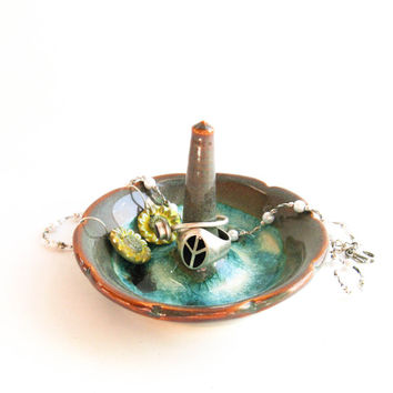 Small Ring Holder - Green & Turquoise Ring Dish - Handmade Ceramics