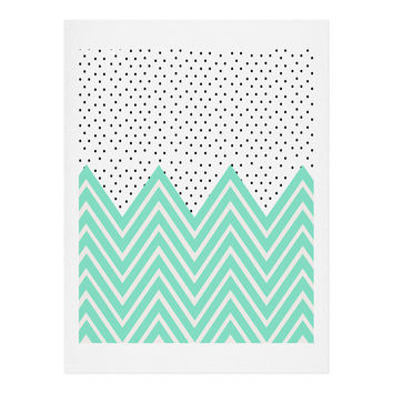 Allyson Johnson Minty Chevron And Dots Art Print