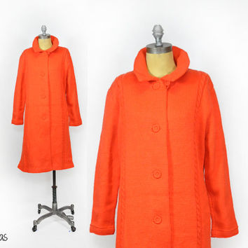 Vintage Cable Knit Sweater Coat • 1960s Orange Coat • Long Sweater Coat • Long Cardigan • Chunky Vintage Cardigan • 60s Sweater