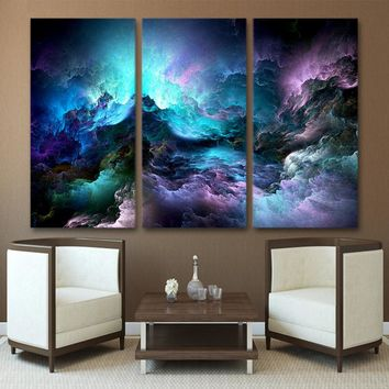HD Printed 3 piece canvas art abstract psychedelic nebula space Painting home decor wall art paintings Free shipping /PT1236
