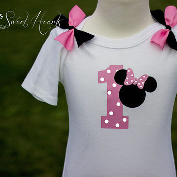 First Birthday Shirt, First Birthday Outfit, Gift Idea, Baby Shirt, Girls Birthday Shirt, Minnie Mouse Birthday Shirt
