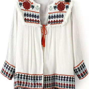 White Aztec Embroidered Coat
