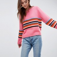 ASOS Sweater with Ripple Stitch Stripe at asos.com
