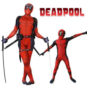 Deadpool Dead pool Taco Kid/adult   2 Cosplay Costume Man Bodysuit Halloween Zentai Suit Skin Tight Suits Spandex Jumpsuit Lycra Full Body AT_70_6