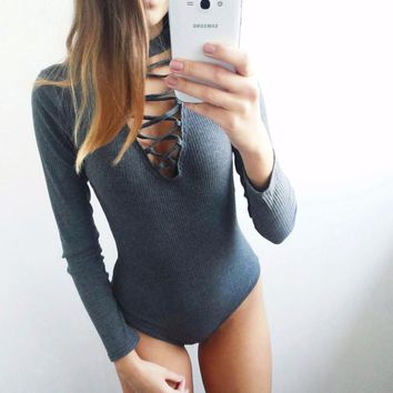2016 Summer Autumn Women Bodysuits Sexy Slim Overalls Gray Long Sleeve Bodyson Playsuits Black Sheath Rompers Short Jumpsuits