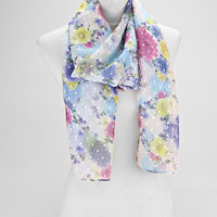 Rose Lilly Cute Fashion Spring Scarf Multi Blue