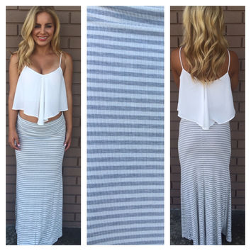 Grey & White Striped Roll Down Maxi Skirt