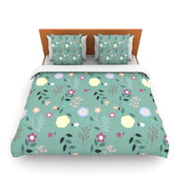 "Louise ""Flora"" Flowers Green Lightweight Duvet Cover"