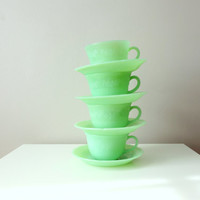 Vintage Fire King Jadeite Teacup and Saucer - Alice Style 8 Piece Set - Jadite Cup and Saucer Set Excellent Condition