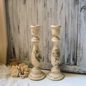 Shabby Chic Antique Cream Candle Stick Holders, Distressed Country Cottage Candleholders with Roses, Wood Candlesticks, OOAK French Country