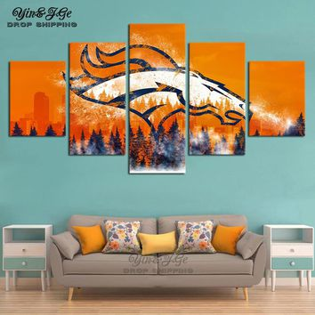 Home Decoration Living Room Wall Printing HD Picture 5 Pieces Denver Broncos Abstract Poster Modular Paintings Canvas Artwork