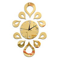Creative Flower Mirror Quartz Wall Clock   golden