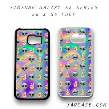 Psychedelic Alien Emoji Pattern Phone case for samsung galaxy S6 & S6 EDGE