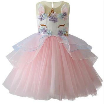 Unicorn Party Princess Elegant Tutu Dresses Baby Clothes 2018 Kids Summer Dress for Girls Embroidery Flower Ball Gown Costumes