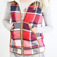 Wandering Woods Red Plaid Fleece-Lined Vest