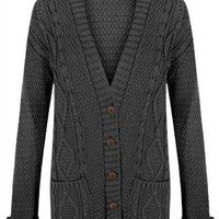 Womens Ladies Chunky Cable Knitted Long Sleeve Button Grandad Knitwear Cardigan - CHARCOAL - One Size(UK8-14) - (Mixed Fibres)