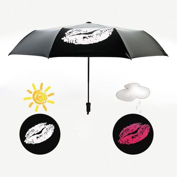 New Discolored Lips Umbrella Rain Women Art Flower Three Folding Sunshade Lady Umbrellas Creative Change Water Black Parasol