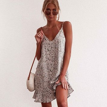 Floral Print Summer V Neck Sleeveless Spaghetti Strap Mini Dress