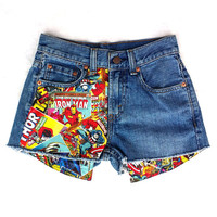 Levis Vintage High Waisted Jean Shorts Cut off Denim Retro Marvel Comic Book Patched Shorts