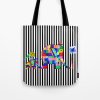 Elephant Festival |Family Walk | #society6 Tote Bag by Azima
