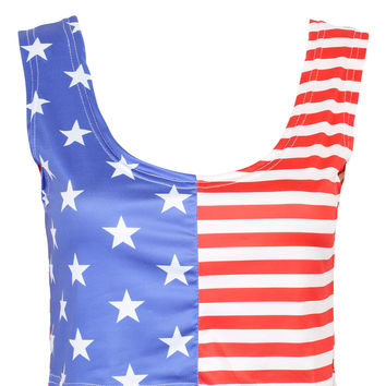 Multicolor American Flag Print Tight Cropped Vest