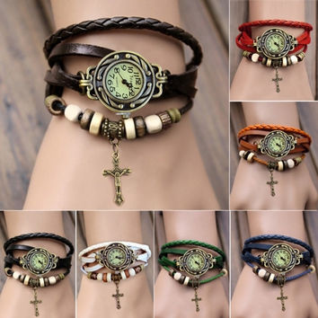Women's Quartz Cross Pendant Weave Wrap Synthetic Leather Bracelet Wrist Watch