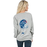 Ole Miss Helmet Long Sleeve Tee in Heather Grey by Lauren James