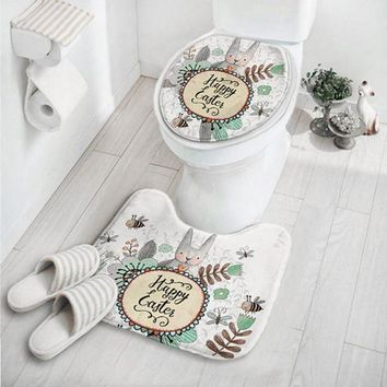 PEAP78W OUTAD 2 In 1 Cute Cartoon Rabbit Animal Pattern Bathroom Set Carpet Absorbent Non-Slip Pedestal Mat Rug Lid Toilet Cover Mat