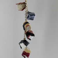 Leather Miniature Book Charm Bracelet