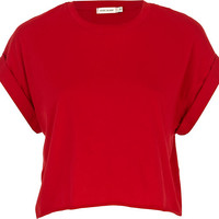 River Island Womens Red short sleeve boxy cropped t-shirt