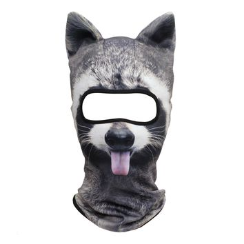 JIUSY Animal Ears Balaclava Face Mask Breathable Hood Outdoor Sports Motorcycle Cycling Ski Halloween Party Funny Racoon MEB-17