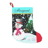 "Snowman ""Merry Christmas"" personalised Small Christmas Stocking"