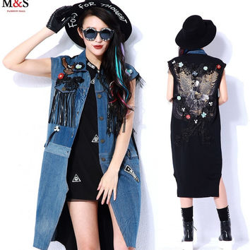 Melinda Style 2015 new women summer vest  jeans vest eagle appliques lace tassel decorated cool fashion vest free shipping
