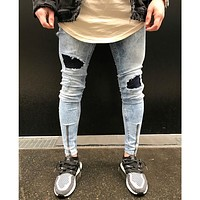 Distressed ripped holes zipper Slim Fit hip hop jeans