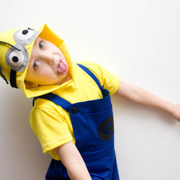 Minion Halloween Costume, Blue Overall Shorts and Yellow Hooded Tshirt, Toddlers Costume