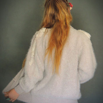 Vintage fluffy angora cardigan / knit rabbit fur warm soft blouson in nude taupe