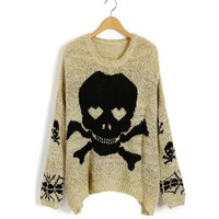 Oversized Beige Sleeves Knitwear in Skull Print