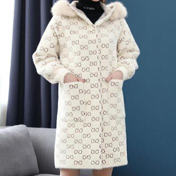GUCCI Winter Trending Women Stylish Imitated Mink Wool Long Sleeve Hooded Knit Cardigan Jacket Coat Beige White