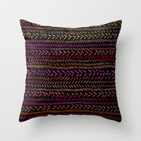 FUNKY RHYTHM - Collab Art with Sreetama Ray, Bright Bold Fun Pattern Collaboration Piece Throw Pillow by EbiEmporium