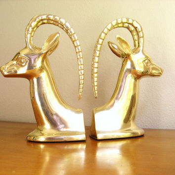 Vintage Brass Antelope Bookends, Hollywood Regency, Impala Figurine, Gazelle, Deer, Mid Century