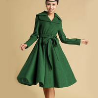 Green wool coat with double folded collar (336)