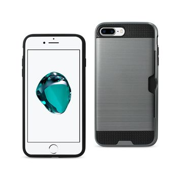New Slim Armor Hybrid Case With Card Holder In Gray For iPhone 7 Plus