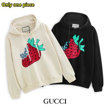 GUCCI fashion new strawberry print cotton long-sleeved hooded sweater