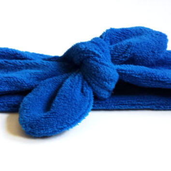 Blue Workout Terry Cloth Knotted Headband Womens Workout Accessories Athletic Headwrap Top Knot Headband Terry Cloth Tie Turban Summer Hair