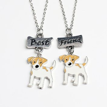 2PCS/SET Fashion Jack Russell Terrier Necklaces For Women Men Girls Best Friends Pendant Necklace Dog Charms Friendship Gifts
